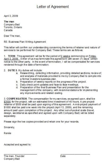 Letter of Agreement - Company Bad
